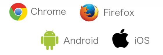 プッシュ通知サービスは、Chrome、FireFoxブラウザや、Android、iOSのスマホに対応します。